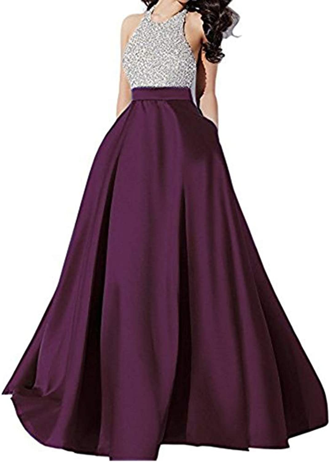 Alilith.Z Women's Illusion Neckline Appliques Lace Sequins Evening Dresses Mermaid