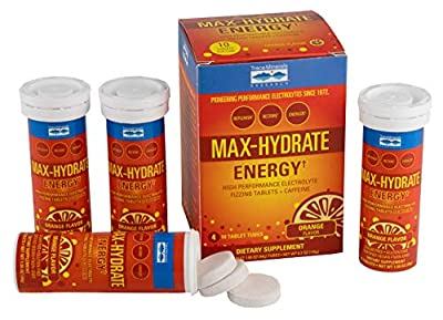 Max Hydrate Energy Caffeine Tablets Orange Flavor 4 Tubes