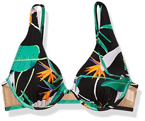 Amazon Brand - Coastal Blue Women's Swimwear Mesh Sides Underwire Bikini Top, Black Jungle Print, M (8-10)
