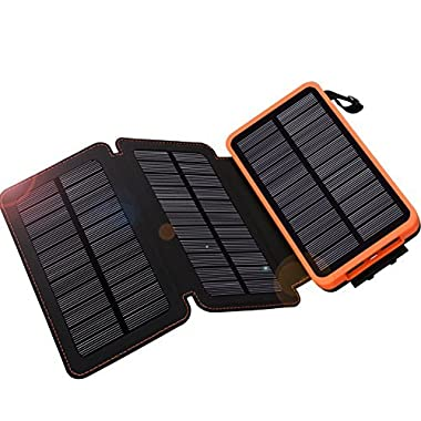 Solar Charger 24000mAh,WBPINE Solar Power Bank Waterproof Dual USB Output with 3 Solar Panels External Battery Bank Flashlights for iPhone 8/X,Samsung S9/Note 8 and More (Orange)