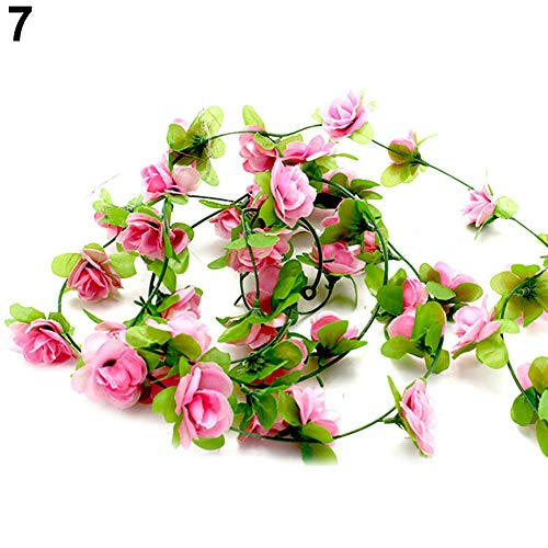 WFZ17 Guirlande de fleurs artificielles pour décoration de maison, de mariage, de fête rose clair