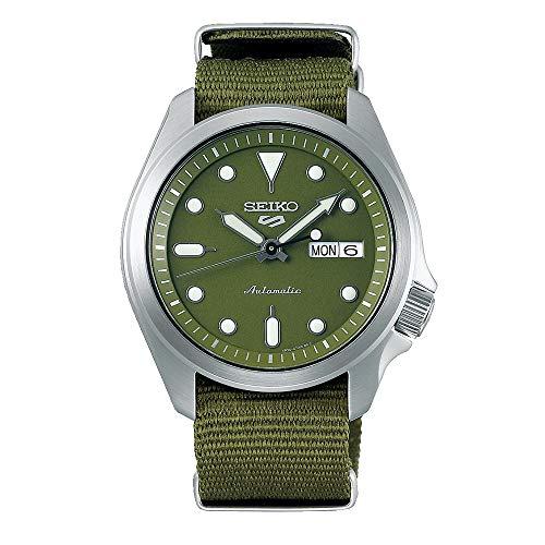 Seiko 5 deportes esfera verde correa de nylon verde SRPE65K1 reloj para hombre