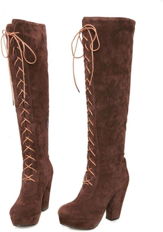 Kitzen Stivali da Donna Alti sopra Stivali al Ginoc o Stivali da Caviglia Marronei di Grei Dimensioni Sautope da Donna con Tacco Alto