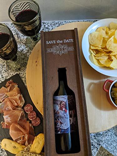 Estuche y botella de vino personalizada, ideal para regalo personalizado el día del padre, día de la madre, aniversario, botella con foto y estuche con nombre y/o mensaje