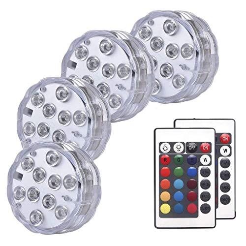 QFFL Luz led subacuática Luces LED Sumergibles, Iluminación Subacuática Impermeable para Piscinas, Multicolor Luces Inalámbricas de Control Remoto, para Base de Jarrón de Acuario, Paquete de 4