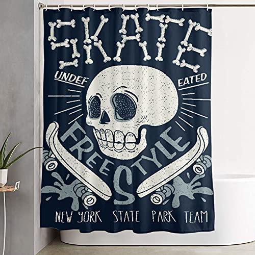 VINISATH Duschvorhang,Cooles Skateboard Skull Design Skater Board Musik Grafik Skate Bones Charakter,wasserdichter Badvorhang mit 12 Haken Duschvorhangringen 180x180cm