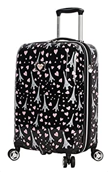 Betsey Johnson Designer 20 Inch Carry On - Expandable  ABS + PC  Hardside Luggage - Lightweight Durable Suitcase With 8-Rolling Spinner Wheels for Women  Paris Love