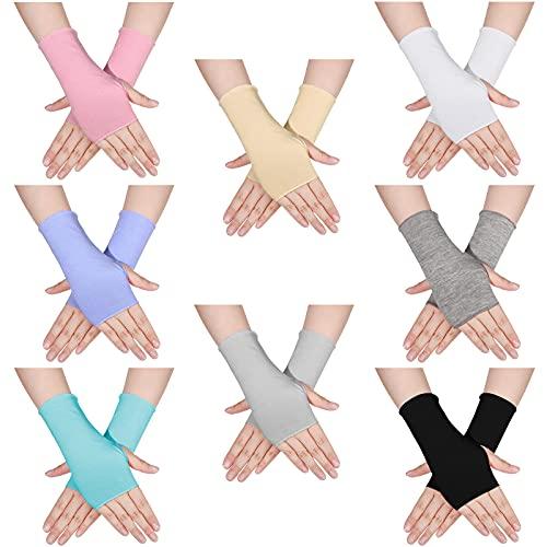 8 pares de guantes sin dedos con protección UV, longitud de la muñeca, bloqueo solar, guantes de conducción para actividades al aire libre, 8 colores