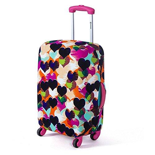 Yazi Fashion Maleta Equipaje, lavable a prueba de polvo de viaje protectora de pantalla para mujeres hombres niñas 18–28pulgadas, tela, Rainbow Love Heart, M(22-24 Inch)