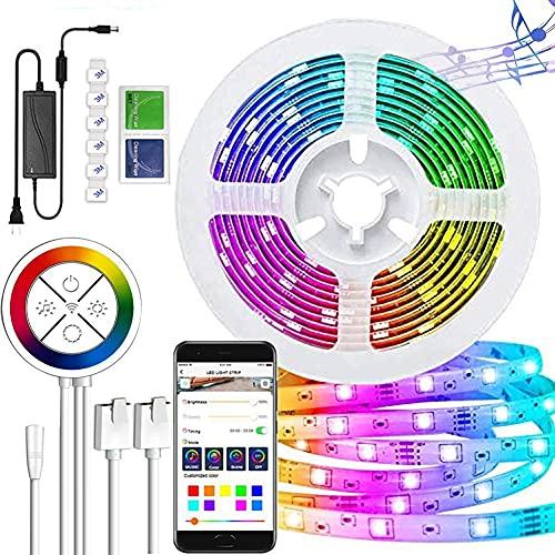 Creativa tira de luz LED con sincronización de música, 5 m, USB 90 tiras de luz LED con mando a distancia RGB 5050, tiras de luz de fondo de TV para textiles del hogar, TV, Schla