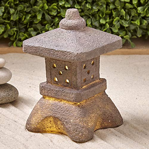 The Lakeside Collection Serenity Solar Square Pagoda Garden Lantern - Lighted Landscape Accent