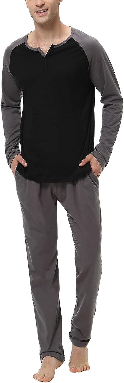 NC Conjunto Pijama Hombre Invierno Pijama Hombre de Algodón Largo Conjunto Pijamas Hombre Largo con Pantalón Largo Pijama Hombre Manga Larga
