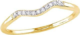 Fede nuziale in oro massiccio 10ct (0,06 ct) con diamante naturale bianco