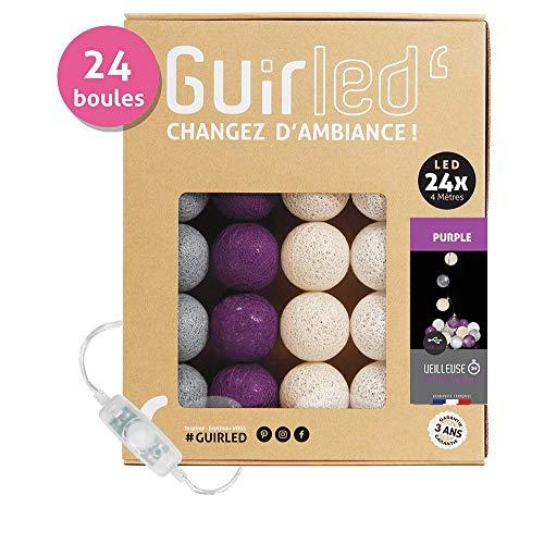 LED Baumwollkugeln Lichterkette USB - Baby Nachtlicht 2h - Dual USB 2A Netzteil enthalten - 3 Intensitäten - 24 Kugeln 4m - Purple