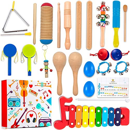 Learning Toy Boxes Toddler Musical Instruments for Kids Band 32 PCS Musical Toys with Gift Box Wooden Maracas Xylophone Set for Children Encourage Music Sense for Kids Preschool Educational Learning