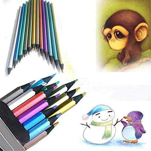 dingdangbell 12Farbe Metallic ungiftig schwarz Holz Zeichnen Bleistifte für Kid Erwachsene Studenten