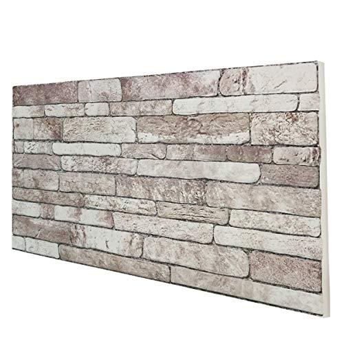 Panel de imitación de piedra reconstruida en poliestireno. Medidas: 100 cm x 50 cm. Grosor: 2 cm. Revestimiento de pared para exterior e interior.