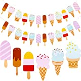 Leinuosen 2 Pack Popsicle Banner Ice Cream Banner Ice Cream Party Garland for School Summer Kid Birthday Party Decoration (Color 2)
