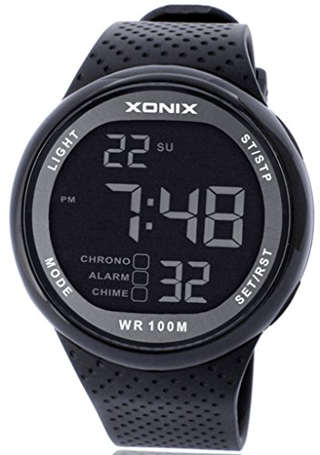 Xonix Men's LED Multi Function Digital Waterproof 100m Sports Black Watch by Xonix