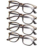 4-Pack Retro Square Reading Glasses
