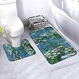 Lilies Claude Monet Water Bathroom Antiskid Rug Mats Set 2 Piece Anti-Skid Pads Bath Mat