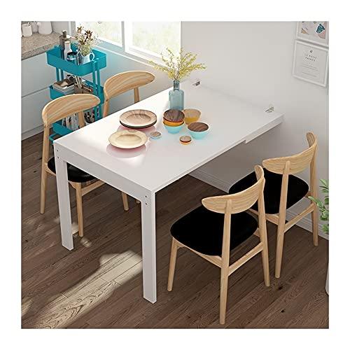 YAYADU-Storage Basket Wandtisch Klappbar, Massivholz Hideaway Esstisch, Platzsparende Hängbare Fotos Mit 2 Holzbeinen Für Wohnzimmer Schlafzimmer Küche (Color : White, Size : 74x45x75cm)