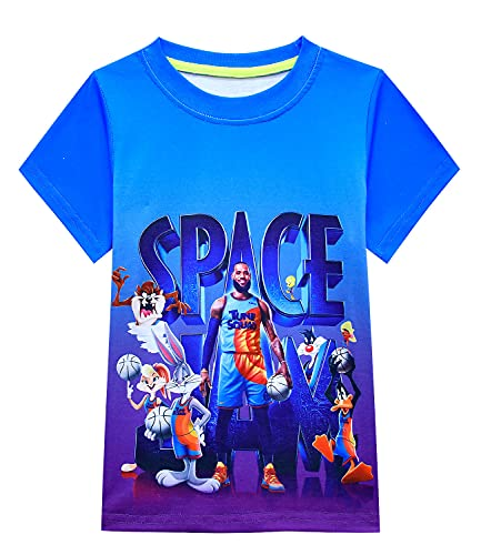 Camisetas de baloncesto para niño Space 2 Movie Toon Squad Tops Tees A New Legacy Kids manga corta ropa deportiva, azul, 11-12 Años