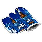 Bud Light Beer Oven Mitt and Pot Holder Set Oven Gloves Elegant Design High Heat Resistance Superior Protection & Comfort