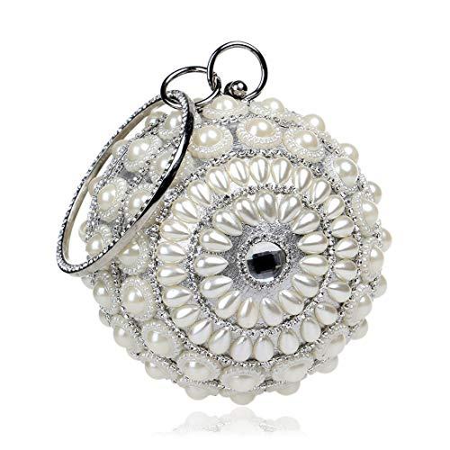 N/F TEYUN Wulstige Sequin Perlen Tasche for Braut Hochzeit Cocktail-Handballtasche (Color : Silver)