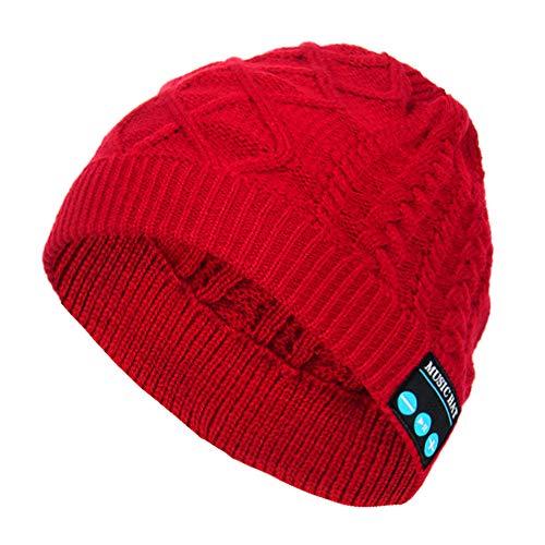 Preisvergleich Produktbild Quaan-Frau Kleider Unisex Bluetooth Kabellos Headset Musik Mütze Stricken Hut mit Lautsprecher