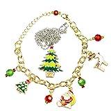 INTVN Collana di Gioielli di Natale con Albero di Natale Ciondolo & Braccialetto di Fascino di Natale Regalo di Natale Christmas Jewelry Donne Ragazze, 2 Pezzi