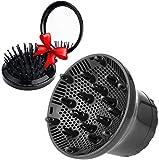 Difusor universal ajustable Anself para secador de pelo. Cabezal difusor adecuado para secadores de 4 a 7 cm. Ideal para cabello ondulado natural. Color negro