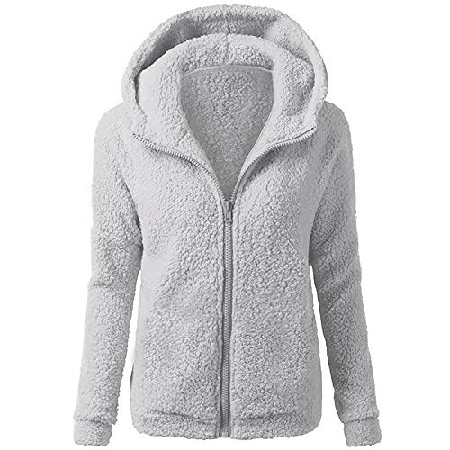 Sudadera con capucha para mujer Fluffy Fuzzy, para otoño e invierno, forro polar, con cremallera, de entretiempo, de manga larga, monocolor, informal, gris, S