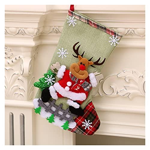 PJRYC 1 unids Medias de Navidad Calcetines con muñeco de Nieve Santa Elk Oso Impresión Navidad Candy Bolsa de Regalo Chimenea Navidad Árbol Decoración Año Elk