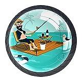 Lifestyle Dibujo Pesca Tiradores de Cajón y Perillas para Aparador Set con Tornillos Cristal Gabinete Tirador Tirador Tirador Tirador de Puerta de Cocina Hardware (4 unidades)