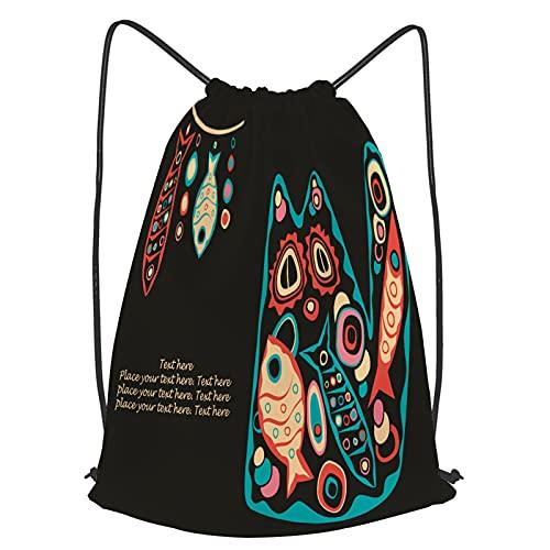 Unisex Wasserdicht Kordelzug Rucksack stilisierte scherzhafte fette Katze voller Fisch Turnbeutel Sporttasche für Yoga Freien Schule Strand Schwimmen