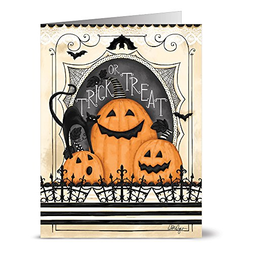 Note Card Cafe Halloween Cards with Tangerine Zest Envelopes | 24 Pack | Trick or Treat Jack-O-Lanterns Design | Blank Inside, Glossy Finish | Greeting, Pumpkin, Fall