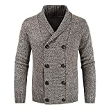 Suéter de Solapa para Hombre, Prendas de Punto, clásico, Cruzado, Engrosado, otoño e Invierno, cálido,...