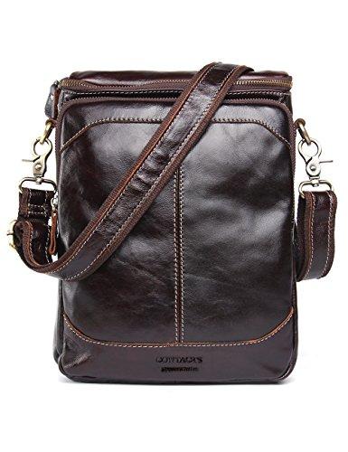 Contacts Genuine Leather Men 10' Messenger Crossbody Shoulder Bag Travel Handbag Dark Brown