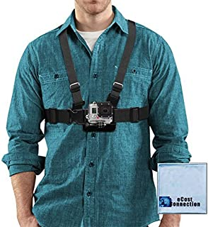 Adjustable Chest Mount Harness for GoPro HERO1, HERO2, HERO3, HERO3+, HERO4, HERO4 Session, HERO5, Hero 6, Fusion Cameras & eCostConnection Microfiber Cloth