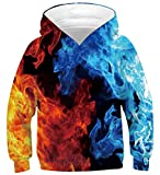 Youth Hoodies for Boys Red and Blue Long Sleeve Hoodys with Big Pocket Funny Flaming Smoke Patterns Hooded Pullover Teens Crewneck Athletic Sweatshirts Unisex Fancy Design Shirts, Fire 14-16 Years