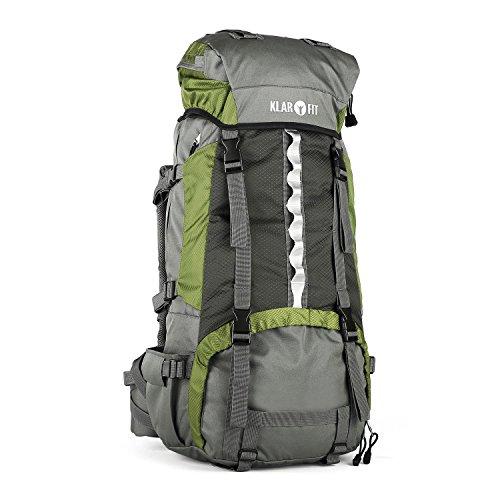 Klarfit Heyerdahl Travel- Backpacker - Mochila de trekkingcon funda impermeable (70L, Toploader, X-transition, varios compartimentos, ajustable, cintas de pecho)