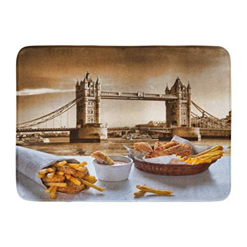 Kanaite Tapis de Bain Tapis de Porte Extérieur/Intérieur British Fish and Chips Contre Tower Bridge à Londres Angleterre Cuisine Déjeuner Décor de Salle de Bain Tapis de Bain Tapis de Bain