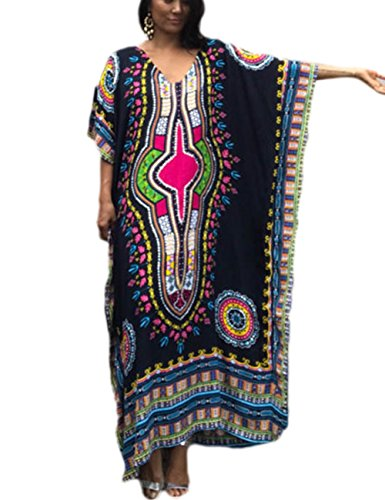 Bsubseach Women Beach Tunic Black Bohemian Ethnic Print Kaftan Swimsuit Cover Up Maxi Dress Beachwear