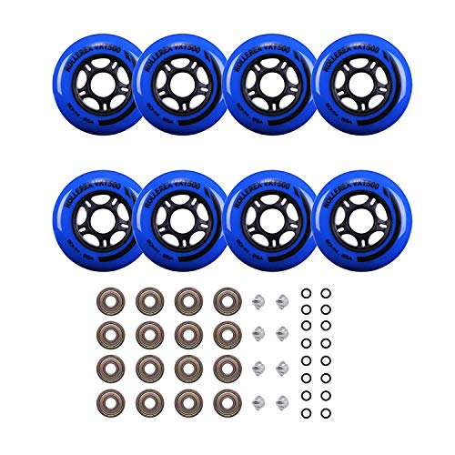 Rollerex Inline Skate Wheels VXT500 (8-Pack or 2-Pack or 2 Wheels w/Bearings, Spacers and Washers) (72mm Deep Sea Blue (8 Wheels w/Bearings, spacers and washers))
