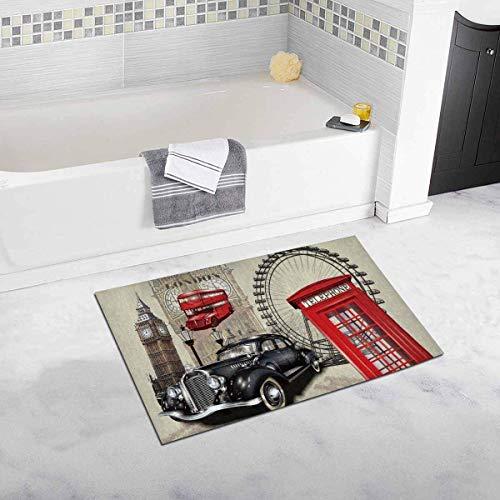 Kanaite Vintage London Big Ben Auto und rote Telefonzelle rutschfeste Bad Teppich Matten saugfähige Dusche Teppich für Badezimmer Badewanne Schlafzimmer Home Decor