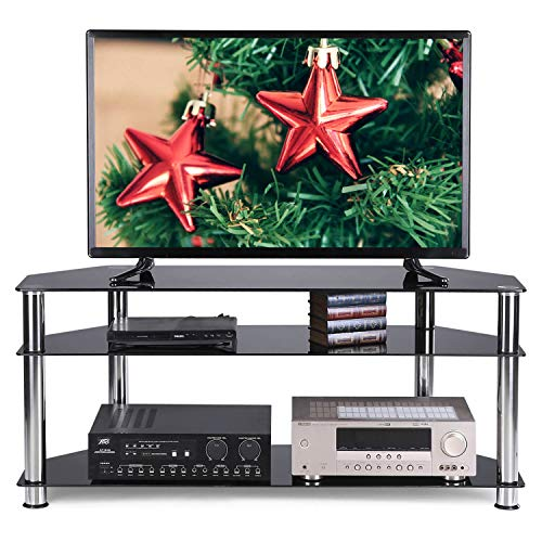 Rfiver Glass Corner TV Stand for 32-55 Inch Flat/Curved Screen TVs, TV Table with Black Tempered Glasses and Silver Stainless Tubes, Small Entertainment Center for Bedroom Living Room