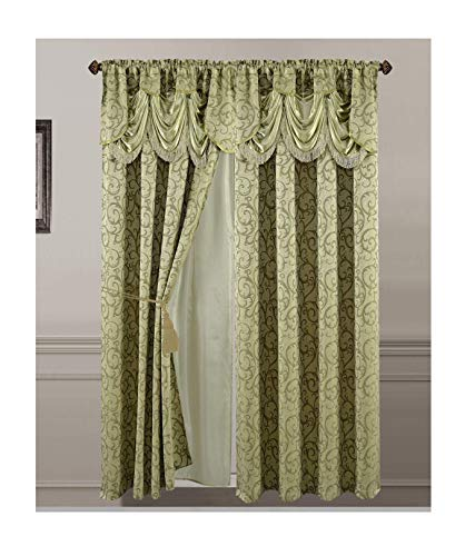 All American Collection New 2 Panel Jacquard-Like Polyester Curtain with Attached Valance and Sheer Backing (Sage)