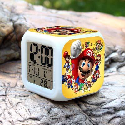 N/Z Super mario bros Relojes de Alarma de los Niños LED Reloj de dibujos animados de la noche de la luz Flash de 7 colores que cambia de reloj digital electrónico de escritorio, estilo 13