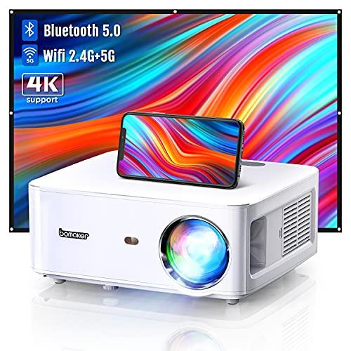 BOMAKER Proyector WiFi+Bluetooth Full HD 1080P Nativo con 8000 Lumenes, 2.4G+5G WiFi, MTK358 Chip, 4P Correción, 60% Zoomout, Soporta 4K, Cinema 500 MAX